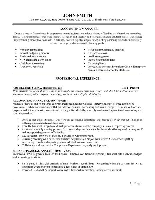 Example Of Accounting Resume