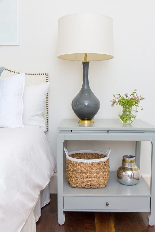 Gray Nightstand With Charcoal Gray Lamp Transitional