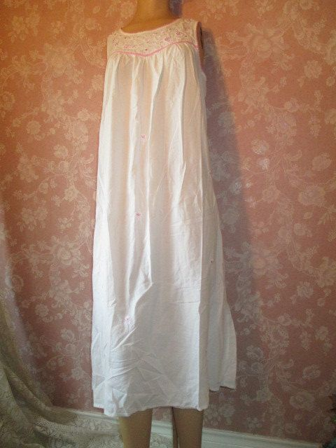 Vintage White Cotton Nightgown Long Floor Length