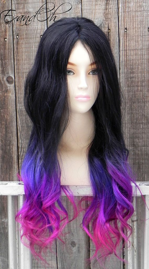 Black Purple Pink Ombre Remy Human Hair 250 300g By ExandOh 65200 Wigs Pinterest
