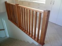 Wood Staircase Banisters See rustic wood railing http