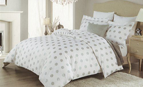 Isaac Mizrahi 3pc Full Queen Duvet Cover Set Large Polka Dot Silver Grey Gray White Luxury