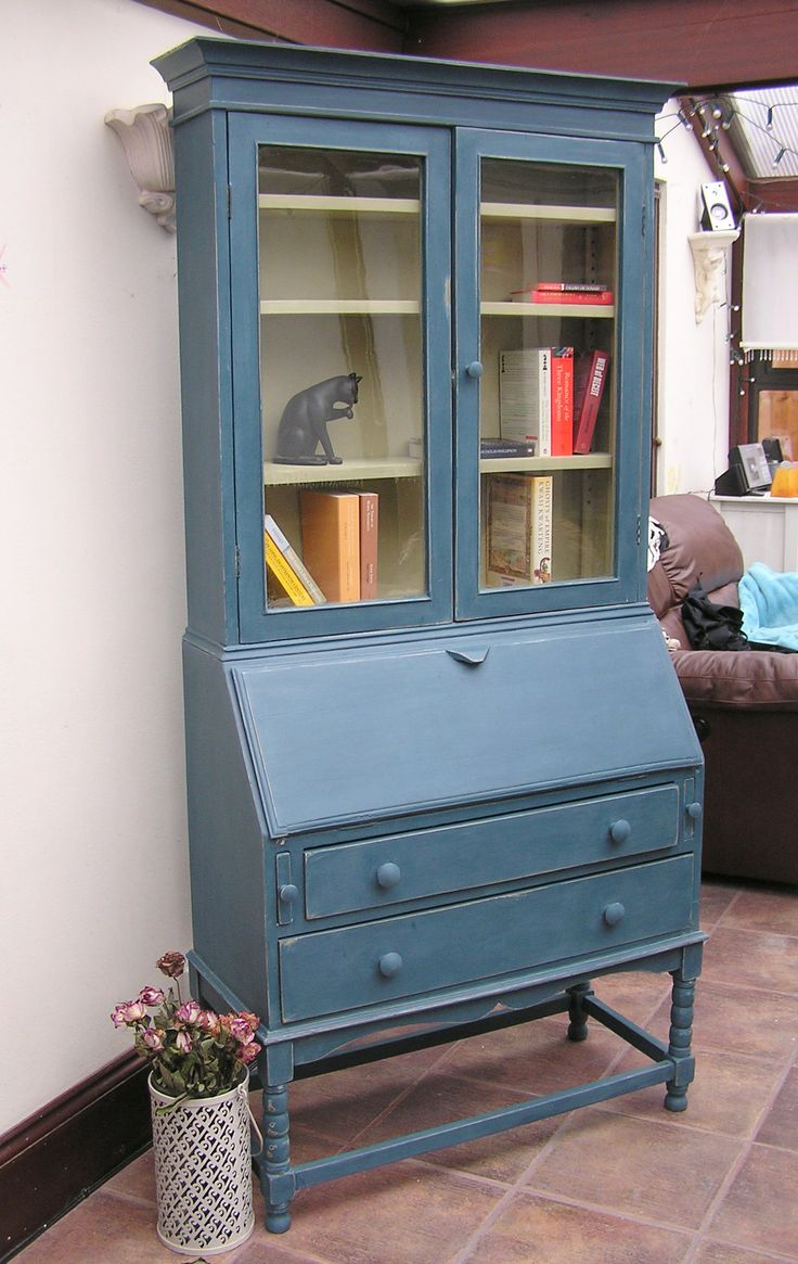 Vintage tall writing bureau hand painted shabby chic style