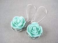 Tiffany blue rose drop earrings. Something old, something ...