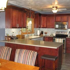 Maple Kitchen Table Curtain Fabric Schrock Cabinets - Morgan Sangria | Customer Project ...