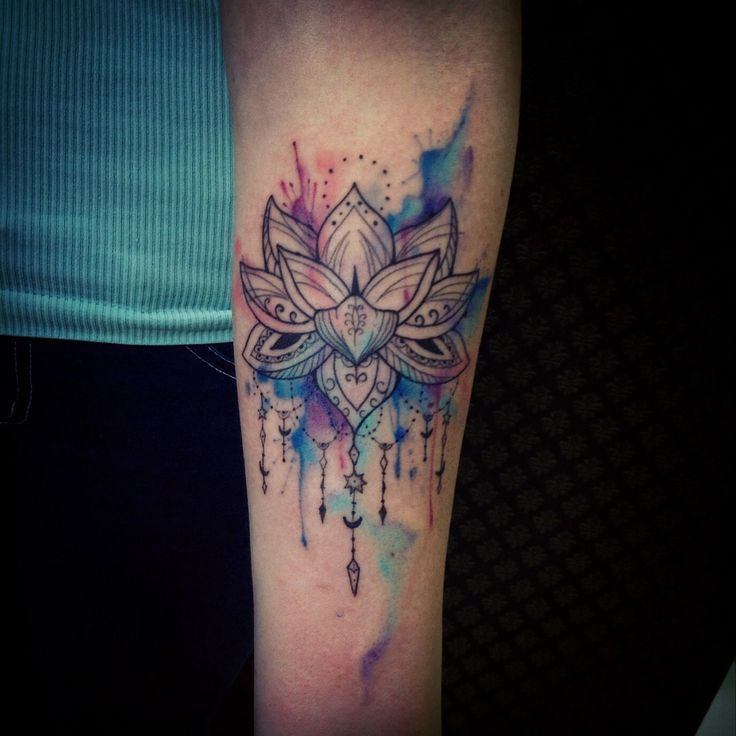 Love the idea of watercolor background with black for the main image…I think Id pick something besides a lotus