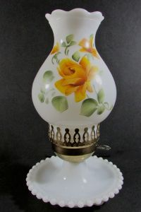 Vintage Fenton Milk Glass Hurricane Table Boudoir Lamp