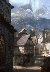 concept fantasy medieval village town landscape spellforce rpg cities artwork raphael mountain anime humans sketch digital environment street paysage artstation