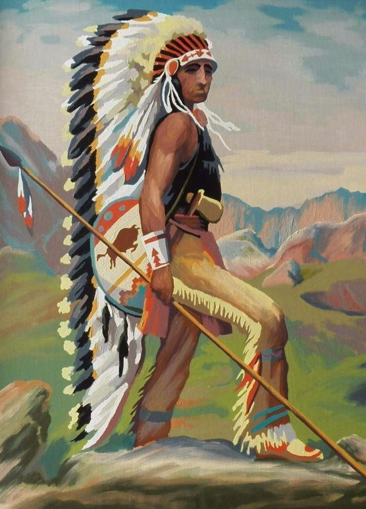 Vintage 1951 PaintByNumber Indians Native Americans Western Oak Picture Frame  Vintage