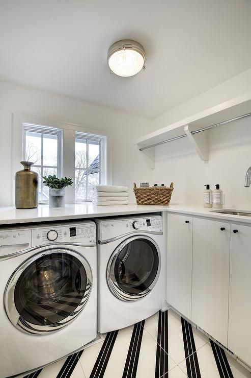 Diagonally striped laundry room floors  Laundry Rooms  Mudrooms  Pinterest  Washers Window