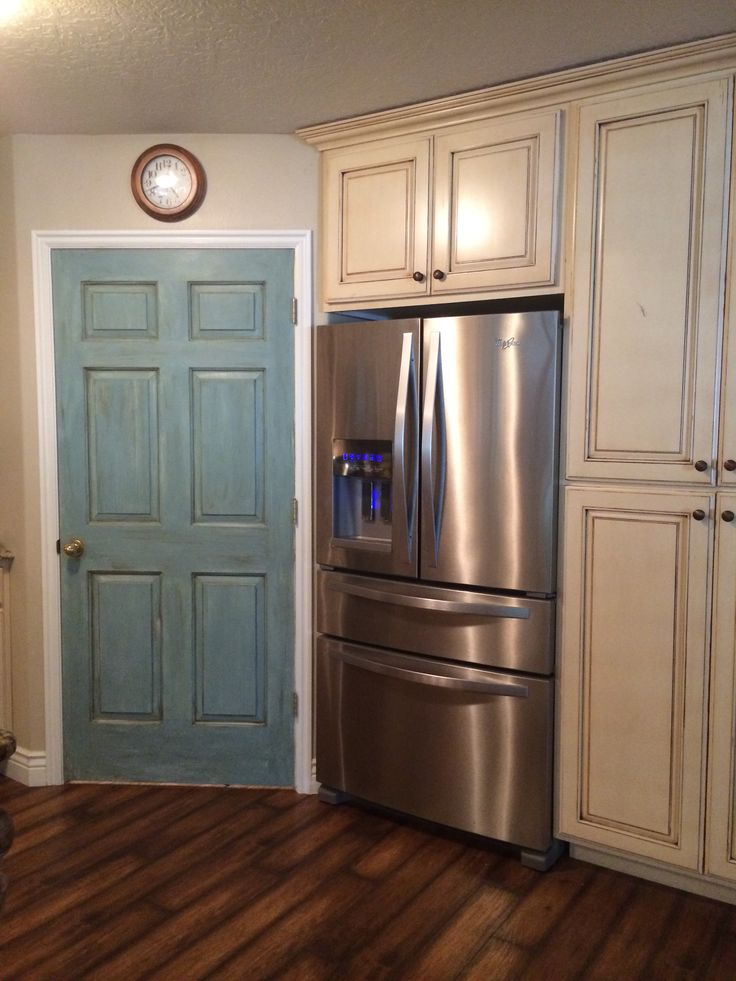 Interior Door Painted With Annie Sloan Duck Egg Blue And - Kitchen Cabinets Pantry