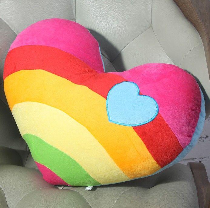 Rainbow Pillow Heartshaped Plush Throw Pillows a Pair
