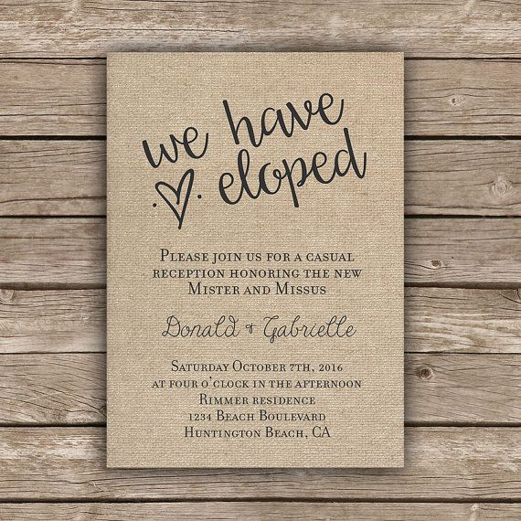 Printable Elopement Reception Invitation We Eloped Tied the Knot Got Hitched Burlap Rustic