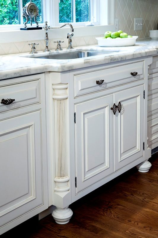 French Country Kitchen Sink Detail W  Fluted Column Legs