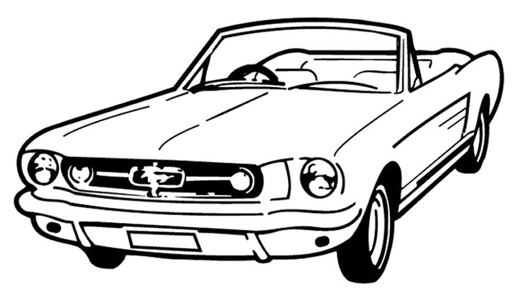 Mustang Car Coloring Pages : Voiture Mustang Coloring Page