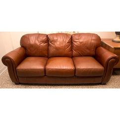 Henredon Sofa Leather Low Design Lane Master With Fluffy Rounded Back Cushions ...