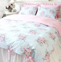 Shabby and Elegant Blue Rose/pink Gingham 4pc Bedding Set
