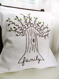 Personalized Family Tree Pillow Cover. Shades of Green ...