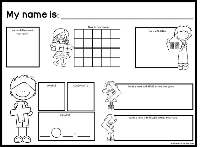 Name Math! Free Math Printable focusing on the number of