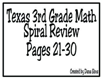 3rd Grade Texas Math: Daily Spiral Review Days 21-30