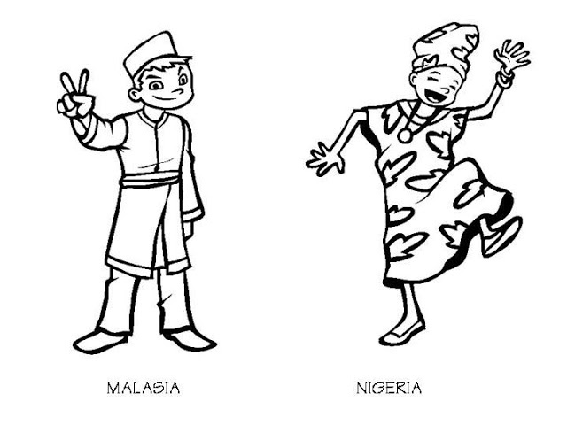 Malaysia costume and Niger costume coloring pages