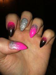 pink silver black stiletto acrylic