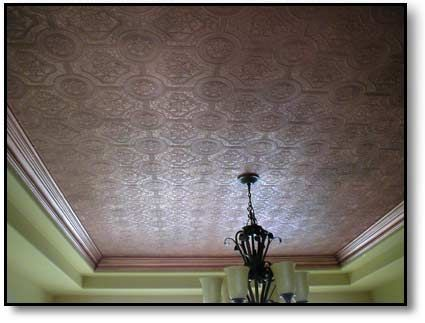 Faux Copper Ceiling  wallpaper painted with copper paint