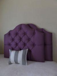 Twin size tufted upholstered headboard eggplant plum ...