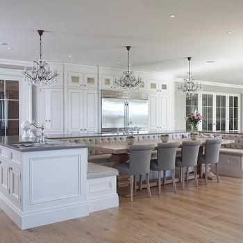 Banquette Seating off Island Transitional kitchen