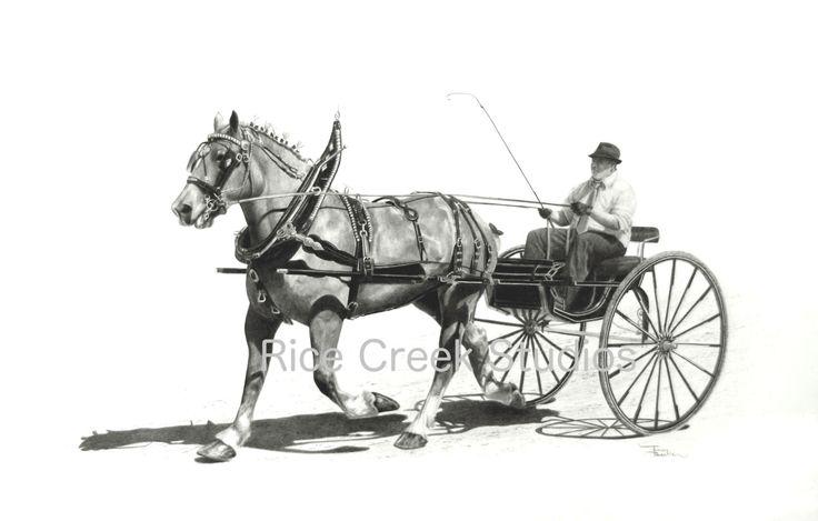 Carriage horse/Equestrian decor/equestrian art/Draft Horse