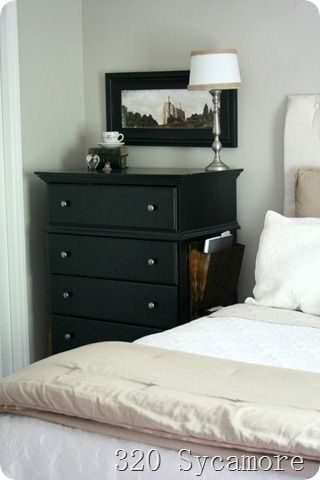 Magazine rack attached to dresser instead of separate nightstandgreat idea in small bedroom