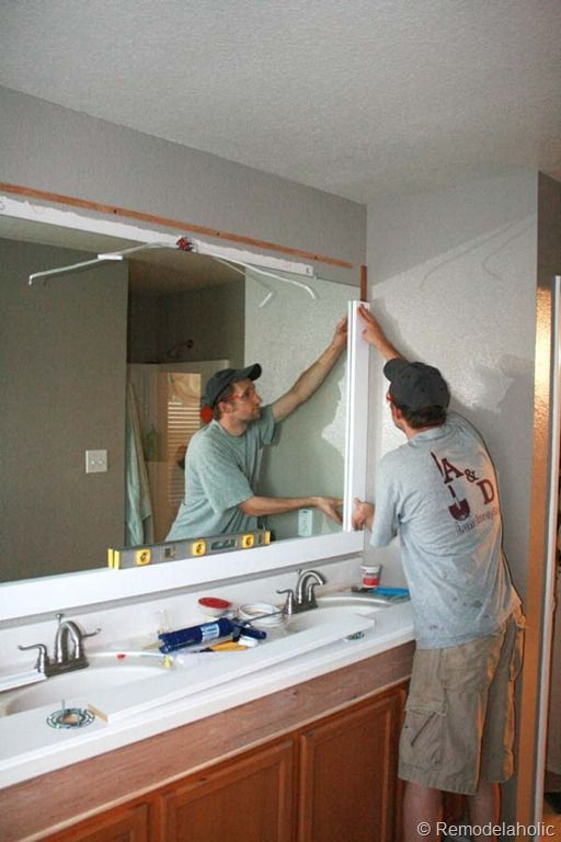Remodelaholic Framing A Large Bathroom Mirror Bathroom