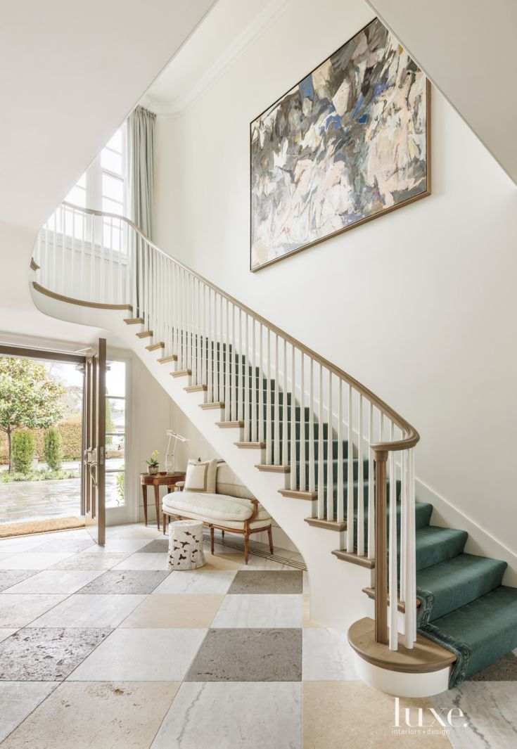 Contemporary White Foyer With Teal Runner Luxe Halls