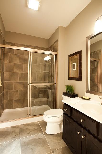 Clean and modern bathroom inside the new custom model home