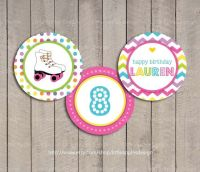 Roller Skate Cupcake Toppers / Roller Skate Party Circles