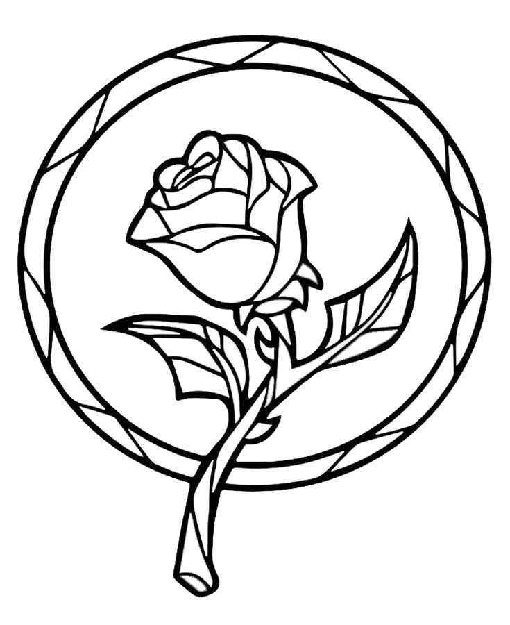 Beauty and the Beast Enchanted Rose Coloring book page