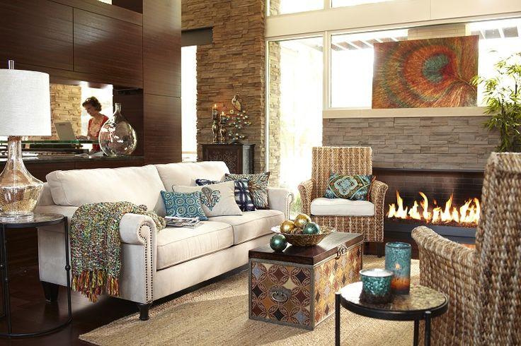 Pier 1 living room featuring the Surat Trunk  Fall  Harvest Decor  Pinterest  Peacocks