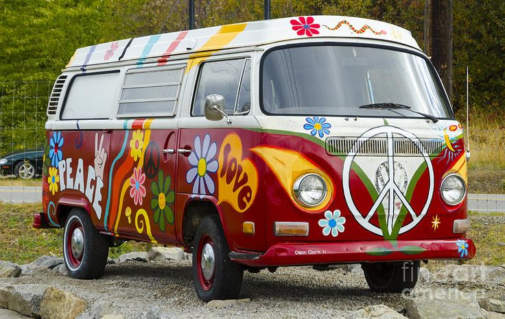 1960s Vw Hippie Van Canvas Print Canvas Art By Michael