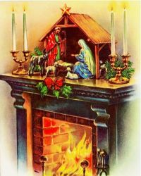 Vintage Glowing Fireplace with Manger Scene Christmas ...