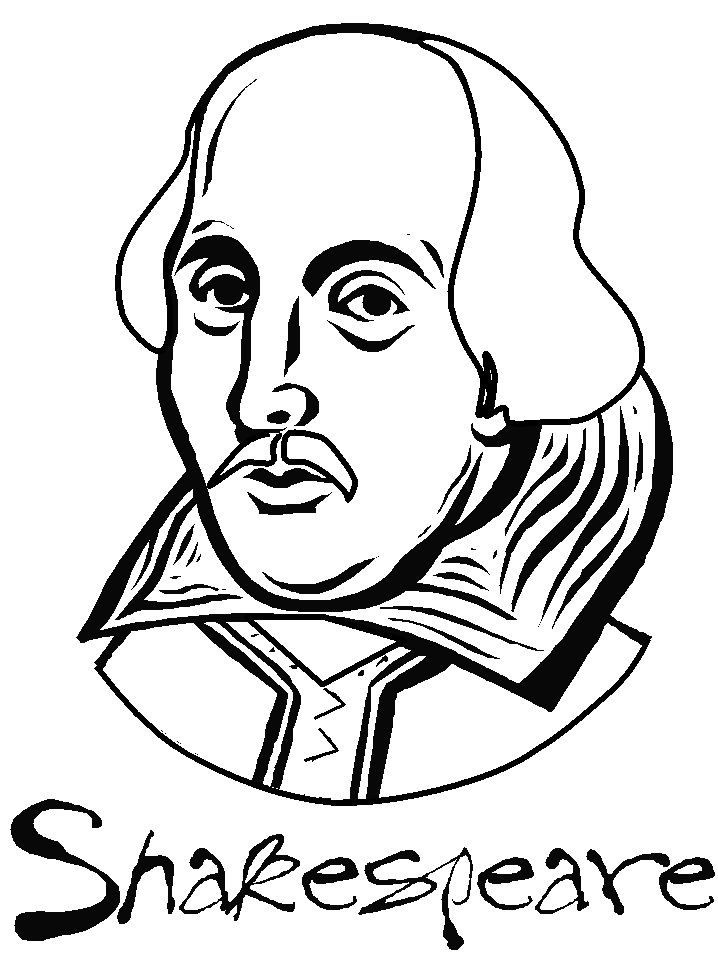 William Shakespeare printable colouring page