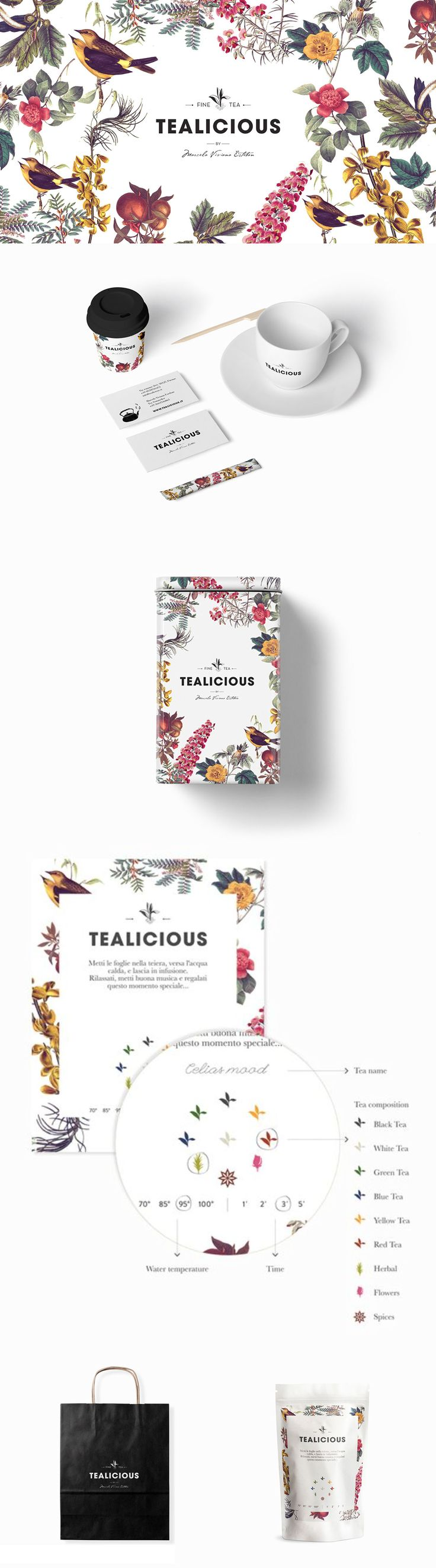 Tealicious merchandise and take-out supplies are framed around a luscious botanical garden. /