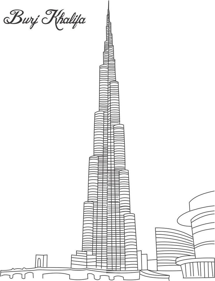 Burj Khalifa Coloring Page For Kids Pages Of Great