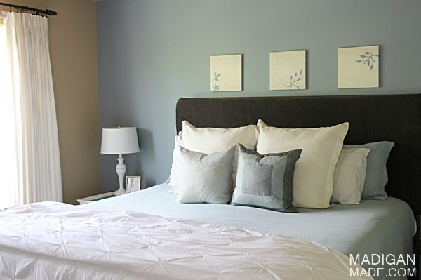 simple light blue walls master bedroom Simple master bedroom décor ideas - love the blue, brown