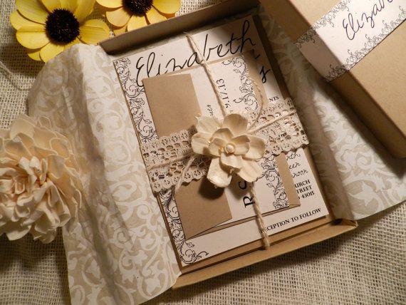 Vintage Flowers Wedding Invitation Box By
