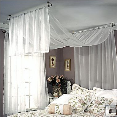 Curtains Draped Over Bed  Roole