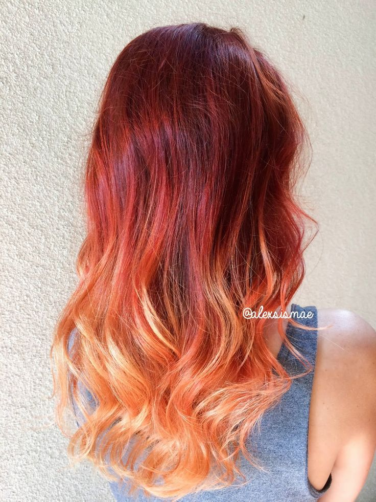 Red Fire Balayage Ombre Hair Using OLAPLEX SCHWARZKOPF