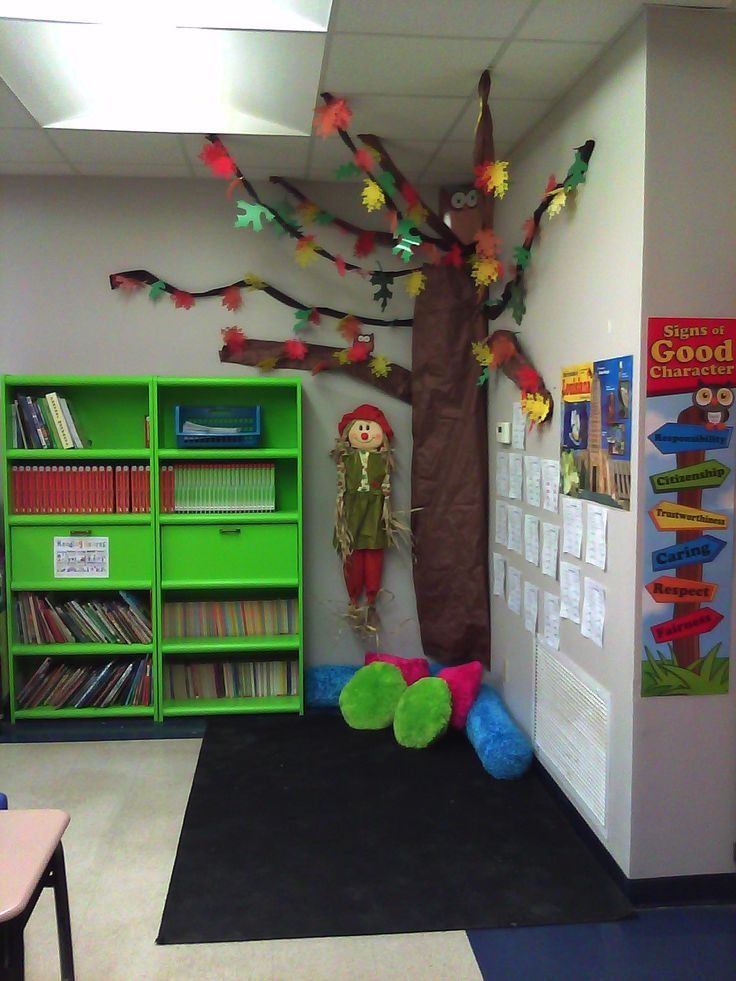 My fall tree reading corner Love this idea Change the
