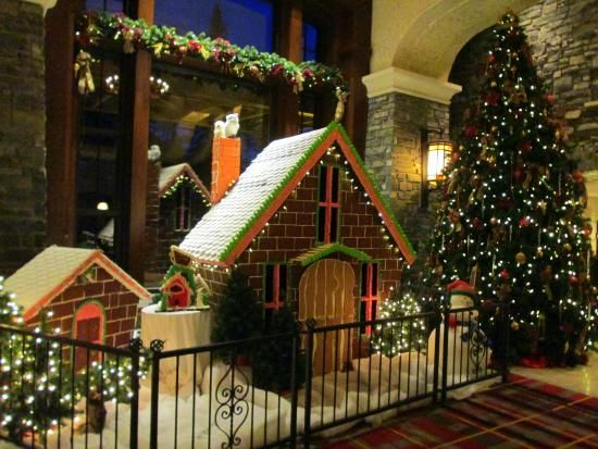 The Fairmont Banff Springs has a giant house made out of real gingerbread in the lobby that will put your kid's playhouses to shame. Gingerbread > plastic. - Delish.com: