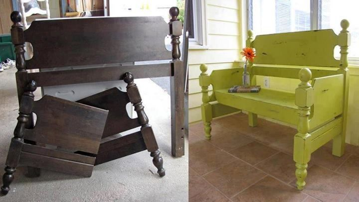 DIY Bench Made Out Of A Bed Frame.