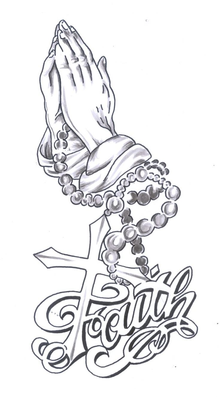 Awesome faith tattoo design with cross and praying hands